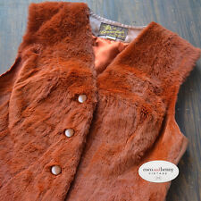 *Vintage WOW 60's Cornelius Burnt Orange Fur VEST with Tan Leather Back Size 12