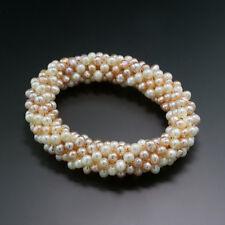Creme Oder Apricot Armband Aus Süßwasserperlen Elastisch 3reihig Brautschmuck