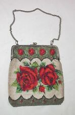 Large Antique 1800's Micro Beaded bead silverplate flower rose Purse clutch