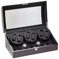 Diplomat 6+7 Six Watch Winder w/ Storage Ebony Wood Black Leather 31-427