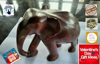 Wood Elephant Sculpture Vintage Wooden Figurine Lucky Statue Hand Carved Gift