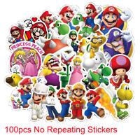 100 Super Mario Skateboard Stickers bomb Vinyl Laptop Luggage Decals Sticker Lot