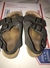 Birkenstock black double buckle strap slip on sandals womens Sz37 German Made