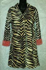 LITTLE MASS Girls Coat Sz 12 Fuzzy Brown Zebra Print Knee length Salmon pink