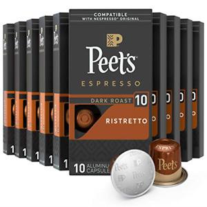 100 Ct Espresso Capsules, Peet's Ristretto Coffee Intensity exp 7/5/2019