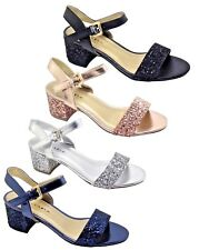 Ladies Sandals Sparkly Glitter Low Heel Evening Party Shoes Size 3,4,5,6,7,8