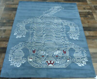 5'x7' Brand New Tiger design 100% wool blue/gray Modern Oriental area rug