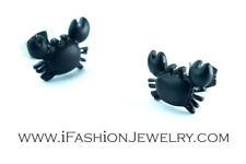 Cute Black Little Crab Sea Animal Stud Earrings Small Zodiac Art Fashion Jewelry