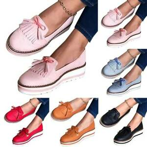 Ladies Flat Loafers Pumps Bow-Knot Wedge Trainers Slip On Tassels Boat Shoes Hot