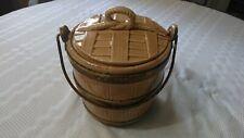Vintage Barrel Basket Bucket Ceramic Cookie Jar Copper Metal Handle Tan Brown