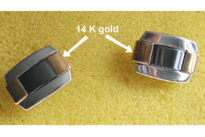Men cufflinks silver 925 and 14k gold