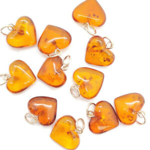 Natural Baltic beautiful amber pendant Heart with sterling silver 925 ring