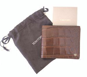 NEW TOM FORD Brown Crocodile Skin Bifold Men's Luxury Wallet $1950