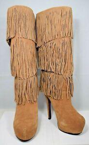 Mojo Moxy - Camel Brown Suede Fringe Platform High Heel Boots (Size: 9M)