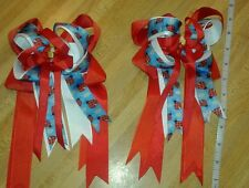 Equestrian Horse Show Hair Bows W/ French Clip Red,Wht & Lady Bug Print Ribbon