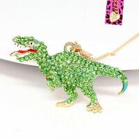 Betsey Johnson Enamel Crystal Dinosaur Tyrannosaurus Pendant Chain Necklace