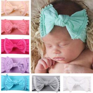 Baby Girls Kids Toddler Bow Knot Hairband Headband Stretch Head Wrap solid AU