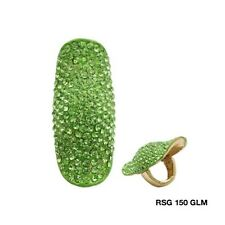 "2"" Long Lime Green Rhinestone Stretch Ring"