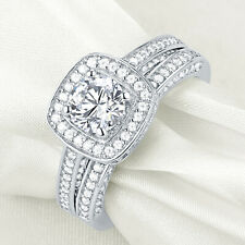 Round White Cz Sterling Silver Sz 10 New listing Wedding Engagement Ring Set For Women 2.5ct