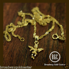 Baby Holy Angel Pendant & Link Chain 14k Solid Yellow Gold NOW ONLY $127