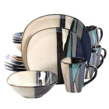 16-Piece Teal Dinnerware Set Monochromatic Design Earthenware Kitchen Dishes