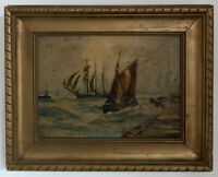 Antique Victorian Dutch Oil On Canvas Painting In Gold Gilt Frame, Signed