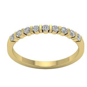 Engagement Ring SI1 G 0.60 Carat Round Cut Diamond 14K White Yellow Gold Bar Set