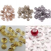500Pcs Metal Filigree Flower Bead End Caps Findings Jewelry Making DIY  6mm