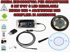 SONDA ENDOSCOPICA ISPEZIONE MICRO E USB 5 MT 6 LED IP67 PER ANDROID WINDOWS OTG