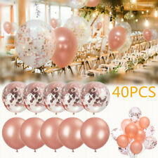 "40PCS Latex Confetti Balloon Rose Gold 12"" Wedding Birthday Party Xmas Decor US"