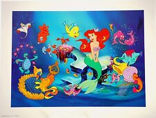 "Disney Art Print Lithograph 11""x14"" Little Mermaid Princess Sebastian Flounder"