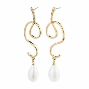 **BNWT** PILGRIM 'Love' Gold Plated Freshwater Pearl Earrings Rrp £29.99