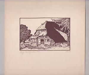 Holzschnitt Schwarzwaldhof signiert M. Proch - wohl M.Emil Proch - um 1940