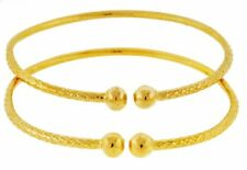 Set Plated with 14K Gold Baby Solid Sterling Silver West-Indian Bangle