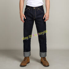 Raw Selvage Redline Denim Straight Jeans Men's 17oz Heavyweight Vintage Trousers