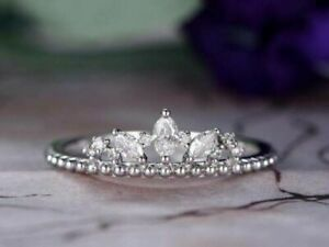 3ct Marquise Cut Diamond Engagement Ring Crown Design 14k SOLID White Gold