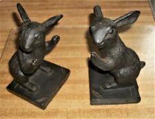Amazing Antique Vintage Cast Iron Rabbit Bunny Figurine Bookends