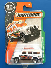 LONG CARD 2016 Matchbox WHITE 1997 LAND ROVER DEFENDER 110 - Mint on card!