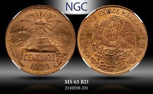 1973-Mo MEXICO 20 CENTAVOS NGC MS 65 RD!