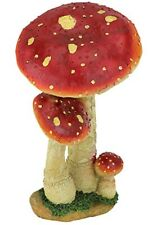 RED MUSHROOMS TOADSTOOL ORNAMENT FLY AGARIC MYSTIC FOREST GARDEN DESIGN TUSCANO