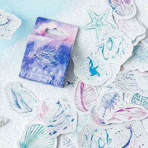 Set of 46 Sketchy Ocean Whale & Dolphin Mini Box Stickers - Scrapbook Journal