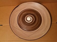 SANTA ANITA Stylized Spirals Brown and Pink Large Chop Plate Round Platter 17in
