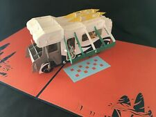 Father's Day Orange RV 3D Pop Up Card Love Birthday Anniversary Greeting Card