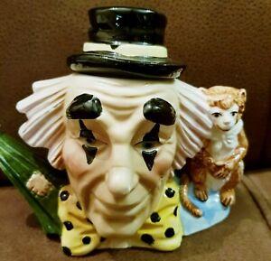 Vintage Leonardo Clown & Monkey Mini Teapot Colourful Ceramic Circus