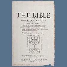1562 CUSTOM FRAMED First Folio GENEVA BIBLE TITLE PAGE Leaf BODLEY CRESPIN Rare