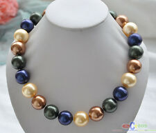 """P4373 20"""" 20mm golden coffee blue black SOUTH SEA SHELL PEARL NECKLACE"""