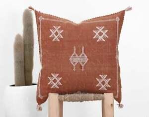 "Moroccan Cactus Silk Pillow 19""x19"", Burnt Orange Sabra Pillow Cover, Handwoven"