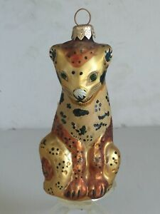 "Vintage POLISH Jeweled Blown Glass Gold Spotted Leopard Tree Ornament 5 1/4"""