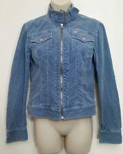 Jennifer Lopez JLO Jacket M Blue Moto Biker Corduroy Cropped Zip Up Long Sleeve