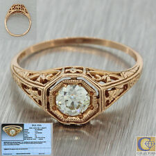 1880s Antique Victorian 14k Solid Rose Gold .41ct Diamond Engagement Ring EGL